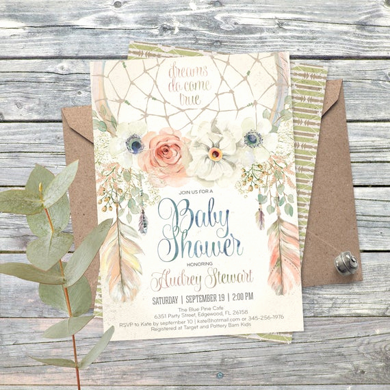 Boho Baby Shower Invitation Luxury Vintage Dream Catcher Boho Baby Shower Invitation Digital