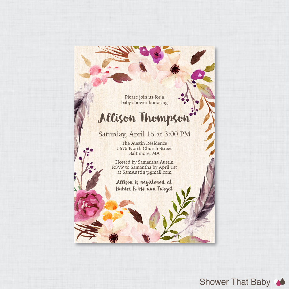 Boho Baby Shower Invitation New Boho Baby Shower Invitation Printable or Printed Bohemian
