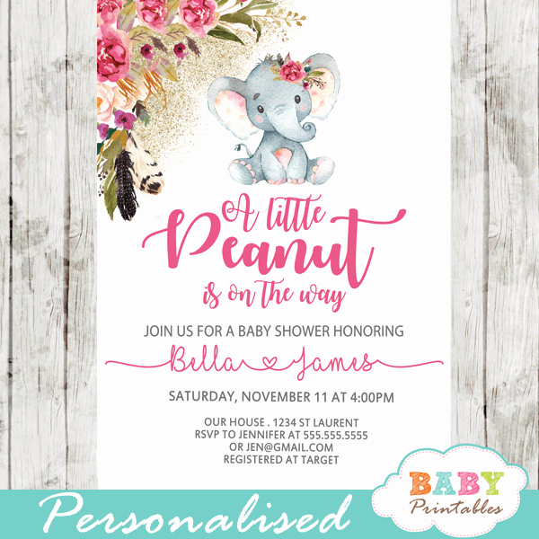 Boho Baby Shower Invitation New Boho Floral Elephant Baby Shower Invitations Girl D430