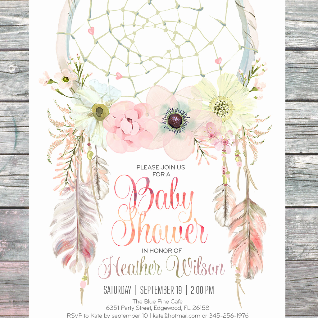 Boho Baby Shower Invitation New Dreamcatcher Boho Baby Shower Invitation Digital Printable
