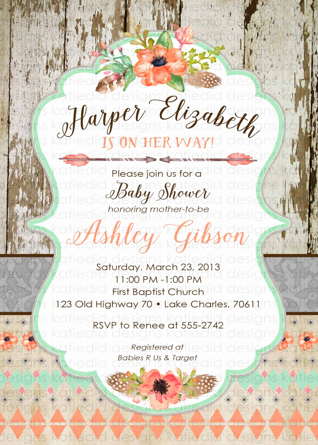 Boho Baby Shower Invitation Unique Boho Baby Shower Invitation Tribal Aztec Bridal Shower