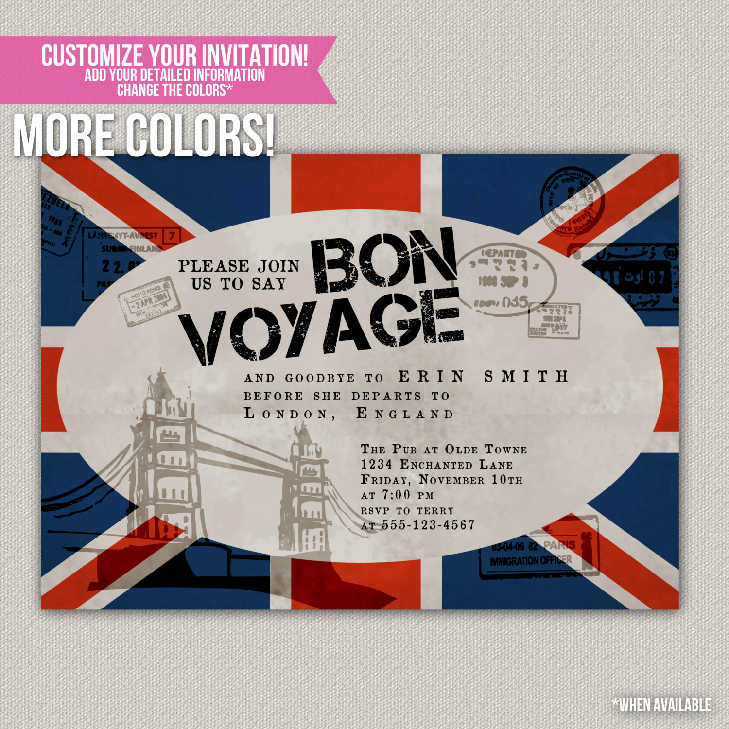 Bon Voyage Party Invitation Elegant Bon Voyage Custom Party Invitation Digital by
