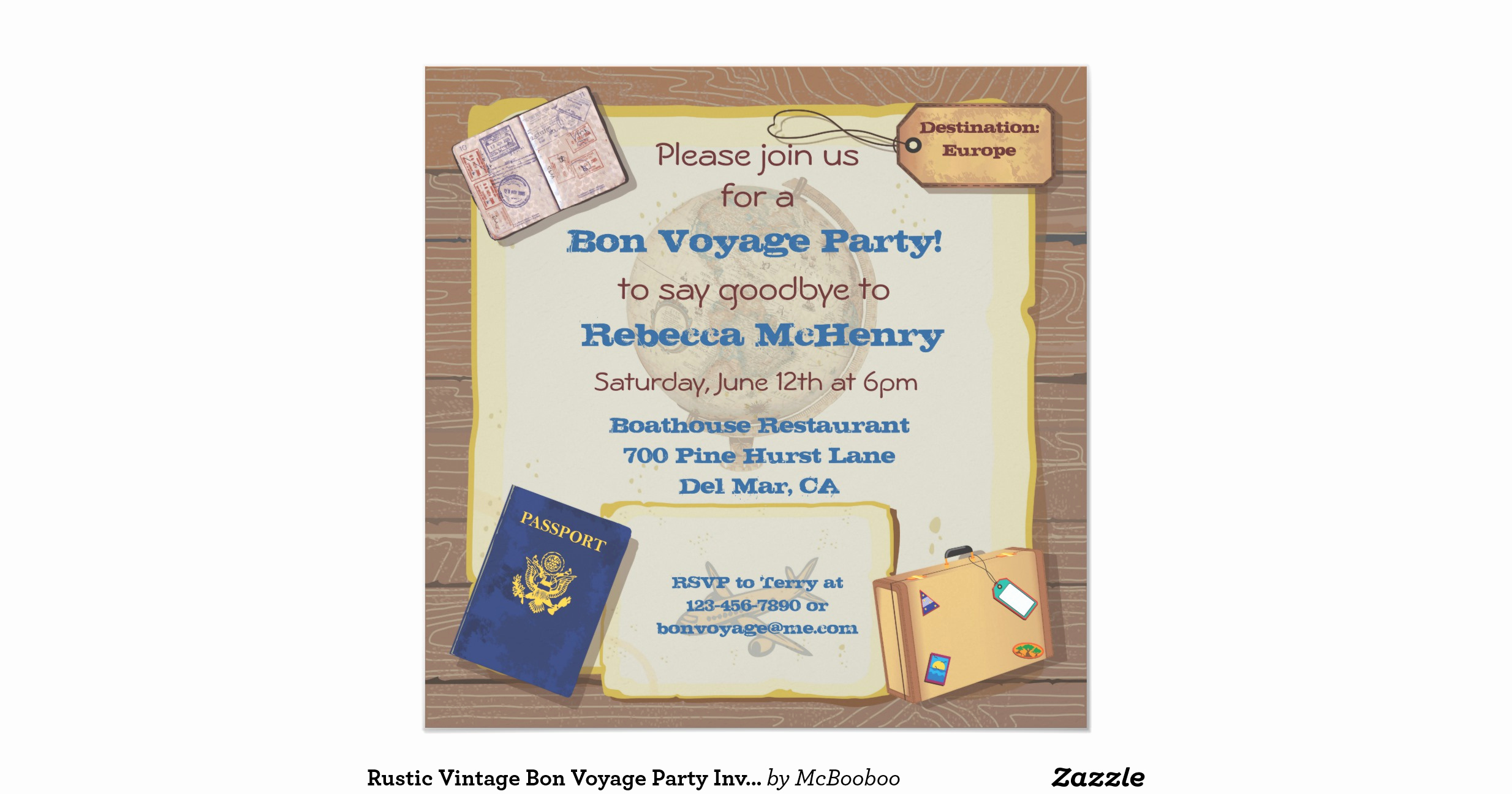 Bon Voyage Party Invitation Elegant Rustic Vintage Bon Voyage Party Invitation