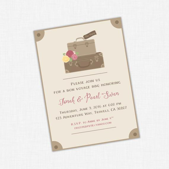 Bon Voyage Party Invitation Fresh Bon Voyage Party Invitation Going Away Invite Suitcase