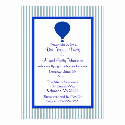 Bon Voyage Party Invitation Inspirational Blue and White Stripes Bon Voyage Party Personalized