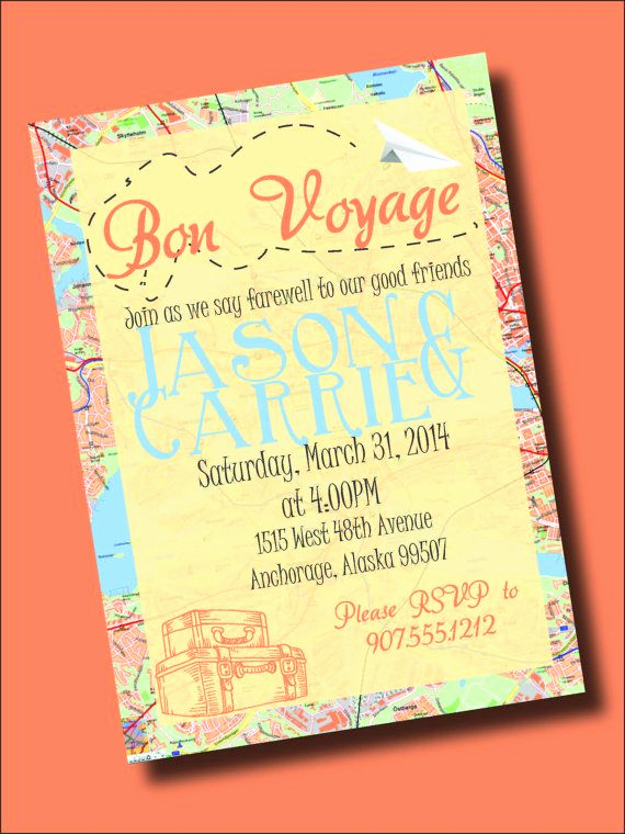 Bon Voyage Party Invitation Inspirational Bon Voyage Going Away Party Invitation