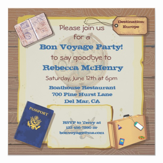 Bon Voyage Party Invitation Luxury Rustic Vintage Bon Voyage Party Invitation