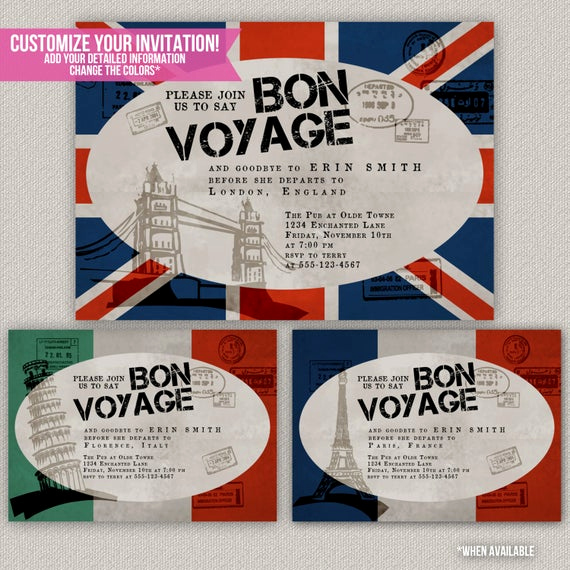 Bon Voyage Party Invitation New Bon Voyage Custom Party Invitation Digital by