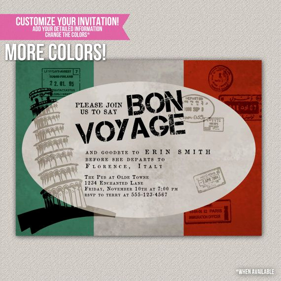 Bon Voyage Party Invitation New Bon Voyage Custom Party Invitation Digital Diy