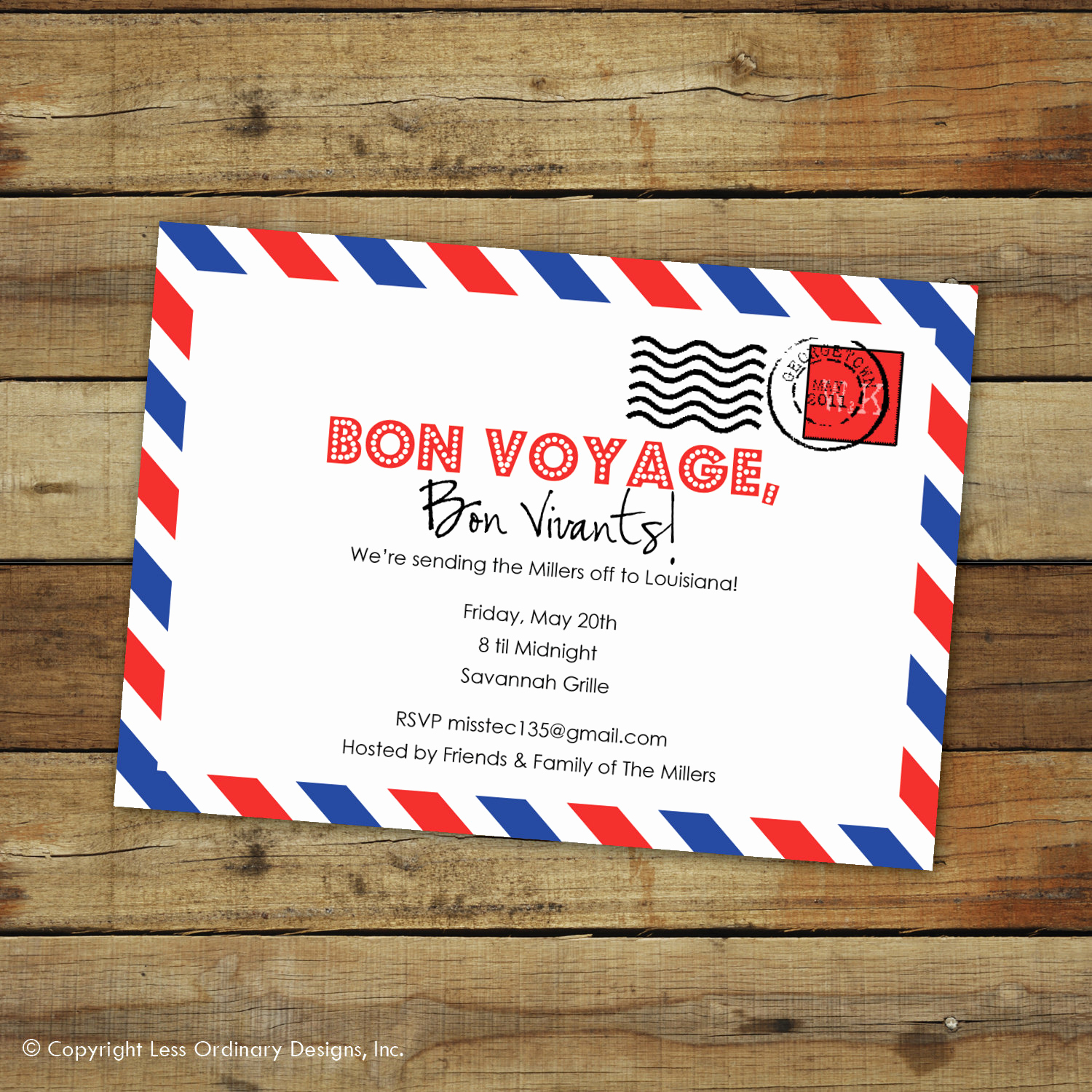Bon Voyage Party Invitation New Custom Bon Voyage Party Invitation Goodbye Party Airmail