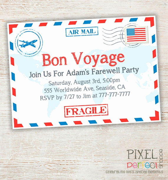 Bon Voyage Party Invitation New Items Similar to Travel Farewell Party Invitation Bon
