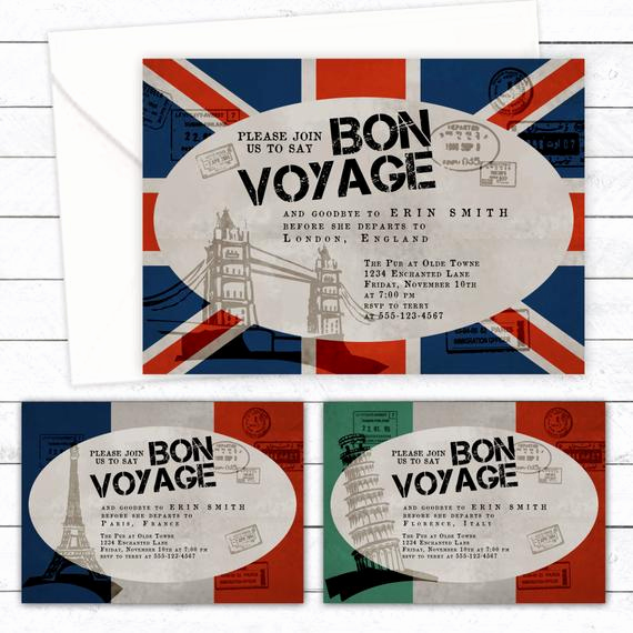 Bon Voyage Party Invitation Unique Bon Voyage Custom Party Invitation Digital Diy Printable