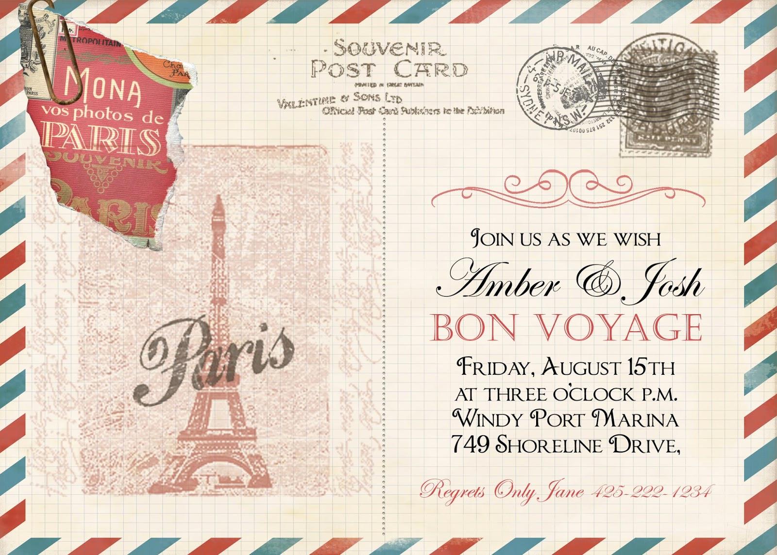 Bon Voyage Party Invitation Unique Sugar and Spice Invitations Bon Voyage Vintage Post Card