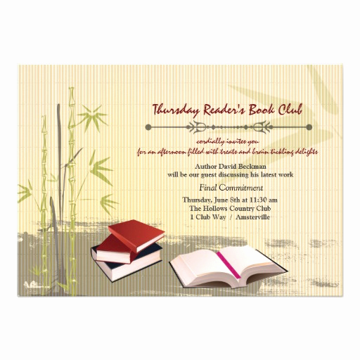 Book Club Invitation Wording Beautiful Book Club Gathering Invitation