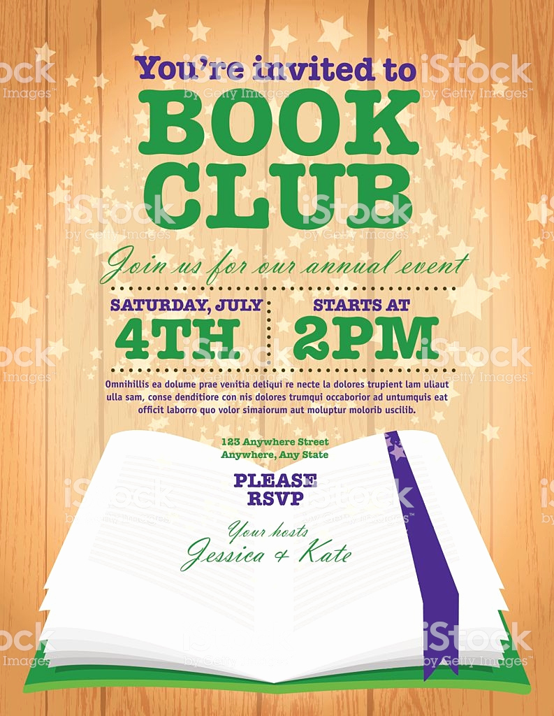 Book Club Invitation Wording Best Of Book Club event Invitation Design Template Wooden