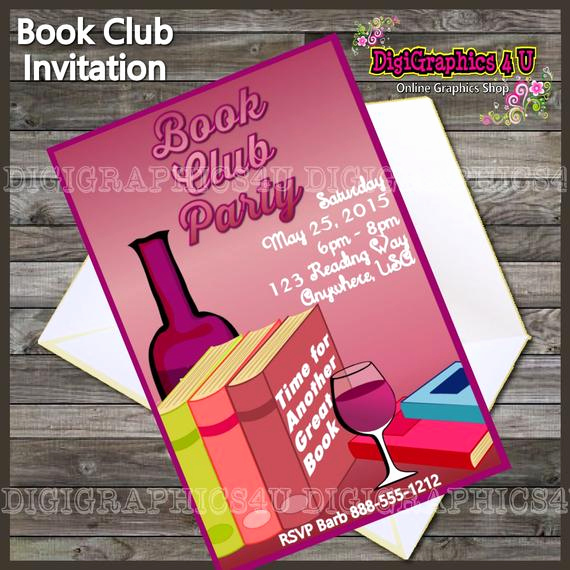 Book Club Invitation Wording Inspirational Printable Book Club Party Invitation Digital by Digigraphics4u