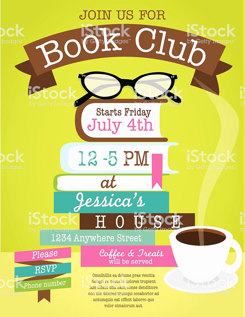 Book Club Invitation Wording Lovely Retro Womens Book Club event Invitation Design Template