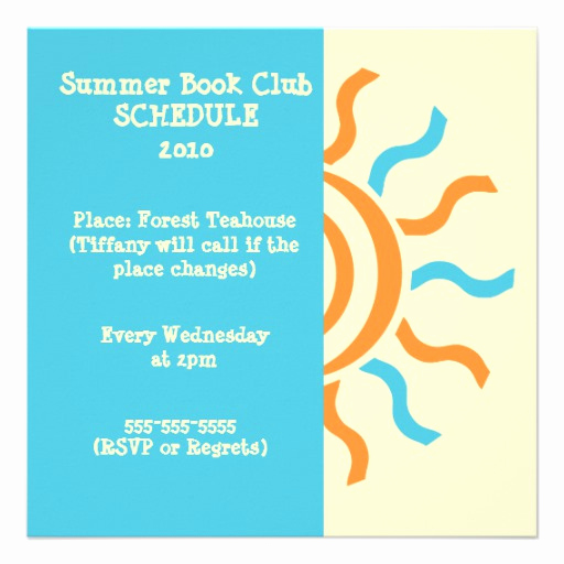Book Club Invitation Wording Unique Summer and Spring Book Club Schedule & Invitation