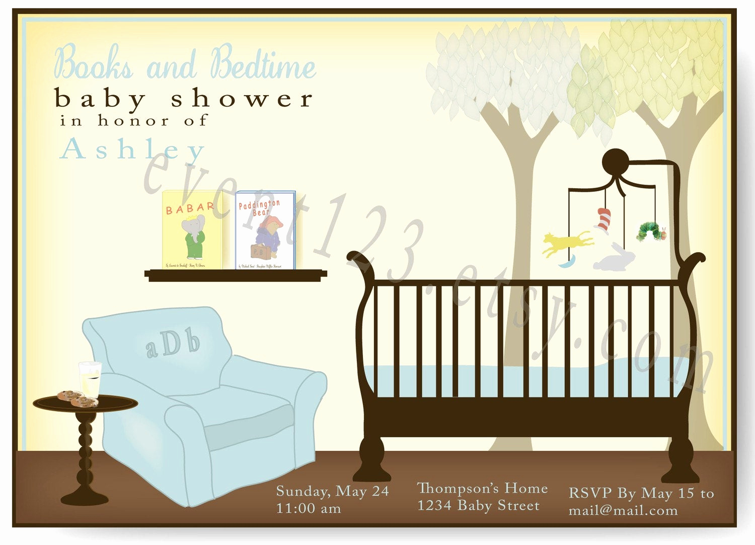 Book themed Baby Shower Invitation Awesome Book theme Invitation