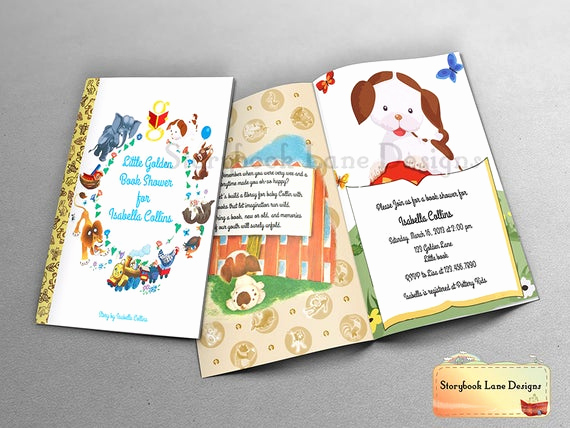 Book themed Baby Shower Invitation Awesome Little Golden Book theme Baby Shower Invitation or All