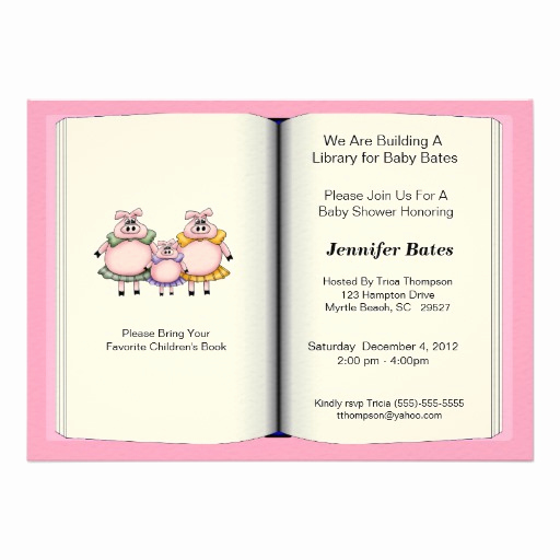 """Book themed Baby Shower Invitation Luxury Book theme Baby Shower Invitation Girl 5"""" X 7"""