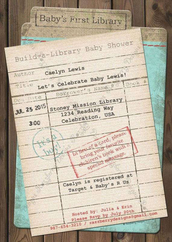 Book themed Baby Shower Invitation Luxury Library Card Baby Shower Invitation Book Baby by