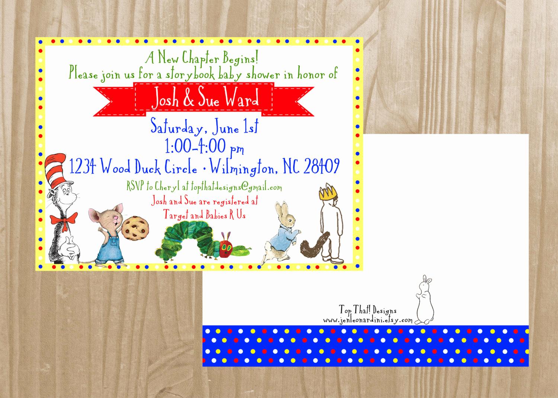 Book themed Baby Shower Invitation Unique Children S Book themed Baby Shower Invitation by Jenleonardini