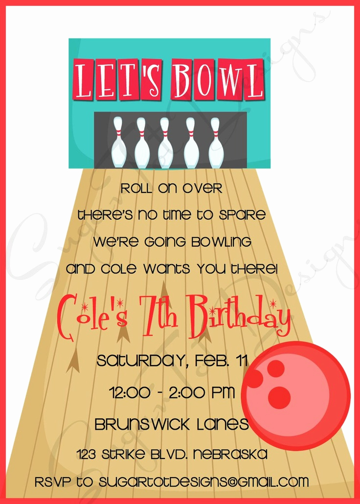 Bowling Birthday Party Invitation Awesome 17 Best Images About Bowling Bash On Pinterest