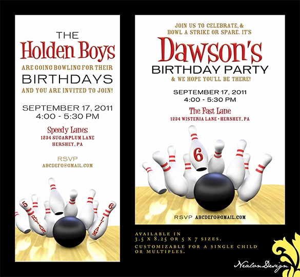 Bowling Birthday Party Invitation Awesome 7 Free Sample Bowling Game Invitation Templates