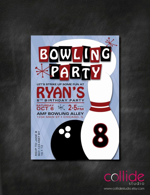 Bowling Birthday Party Invitation Awesome Bowling Birthday Party Invitation
