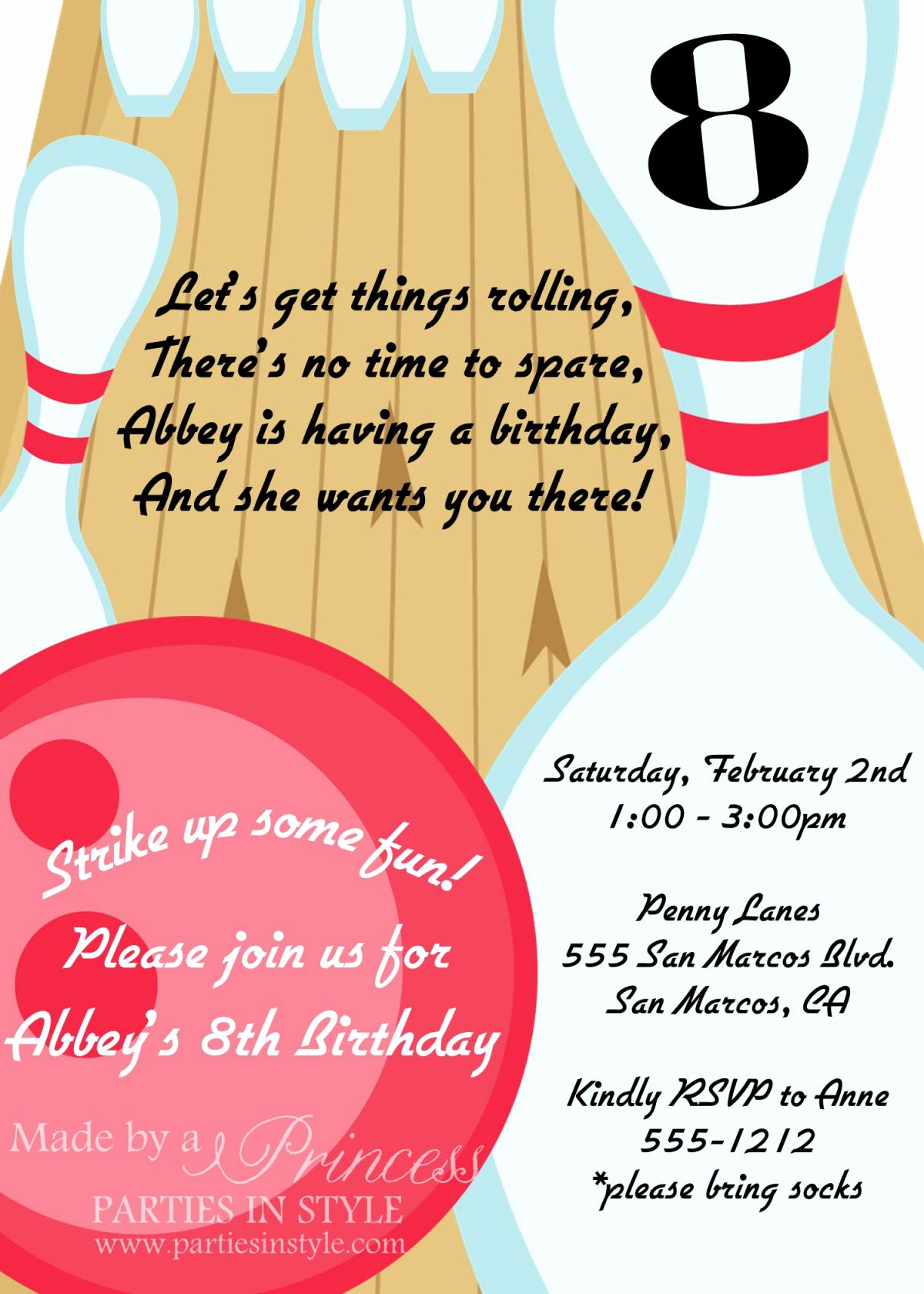 Bowling Birthday Party Invitation Awesome Bowling Birthday Party Printable Invitation Diy Pink