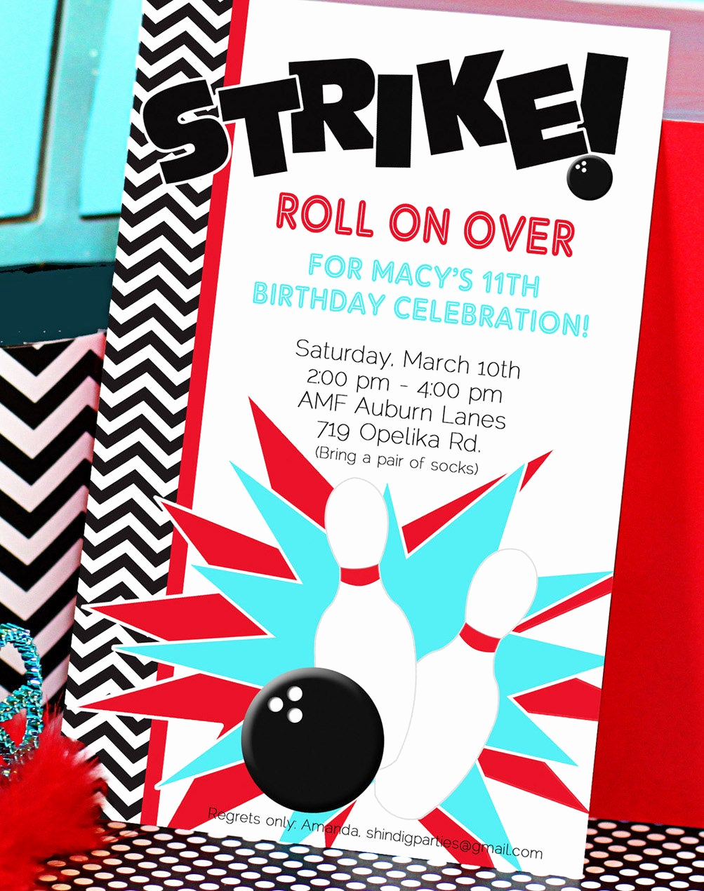 Bowling Birthday Party Invitation Awesome Chandeliers & Pendant Lights