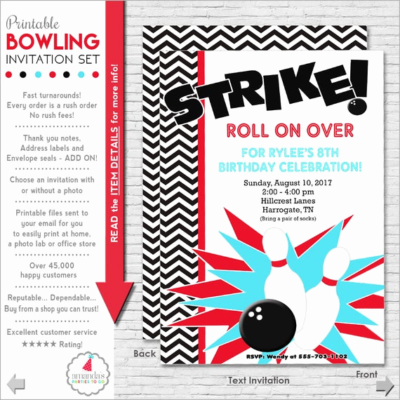 Bowling Birthday Party Invitation Beautiful Bowling Party Invitation Bowling Birthday Invitation