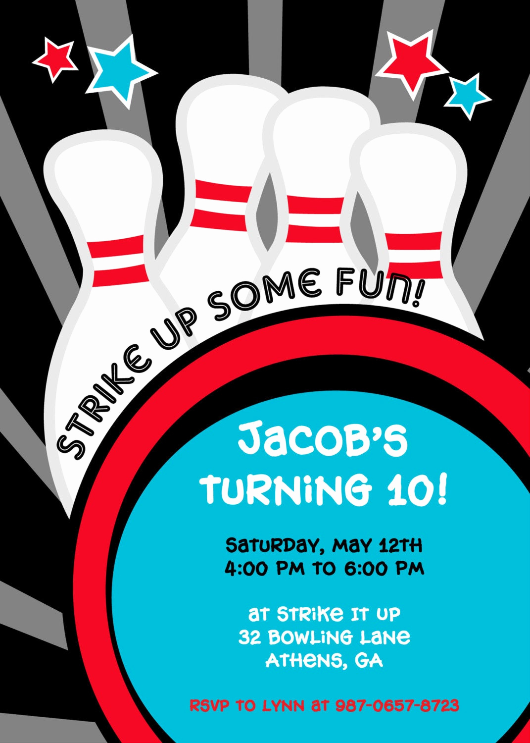 Bowling Birthday Party Invitation Beautiful Strike It Up Bowling Party Invitation