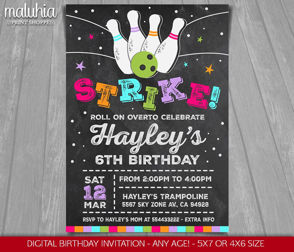 Bowling Birthday Party Invitation Best Of Bowling Birthday Party Invitation Girl Bowling Party