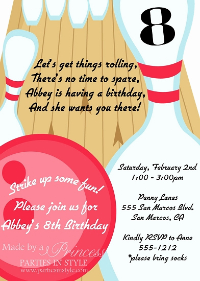 Bowling Birthday Party Invitation Best Of Bowling Party Birthday Invitation
