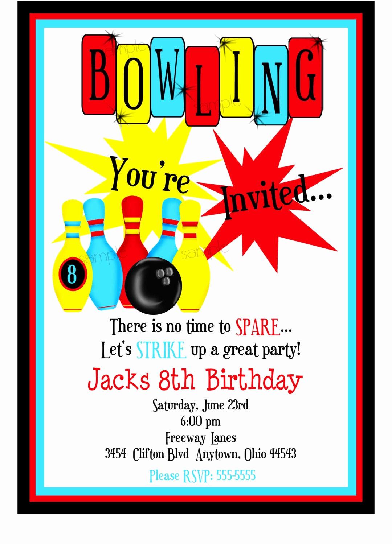 Bowling Birthday Party Invitation Elegant Bowling Invitations Boys Bowling Birthday Party Cosmic