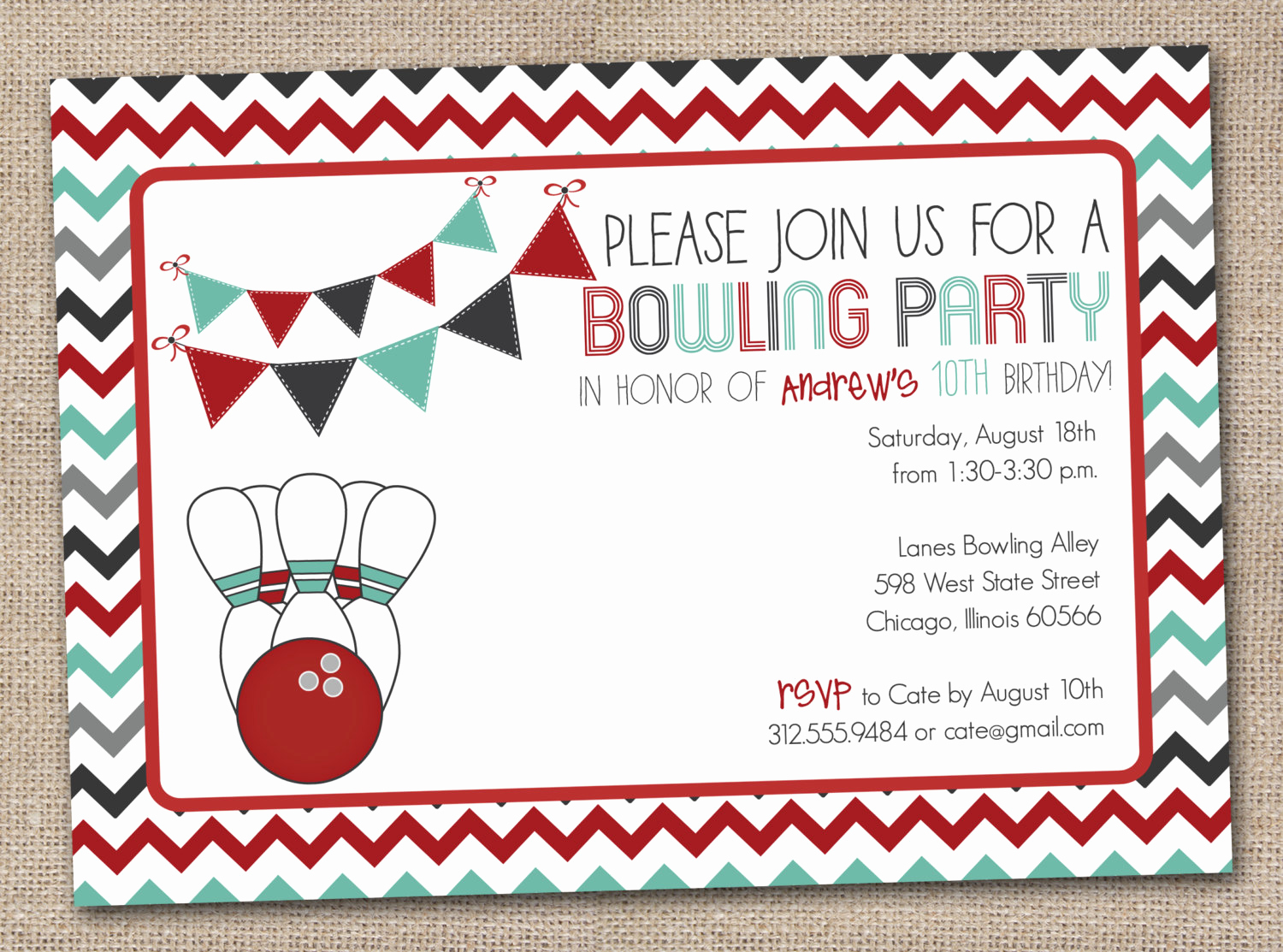 Bowling Birthday Party Invitation Fresh Unavailable Listing On Etsy