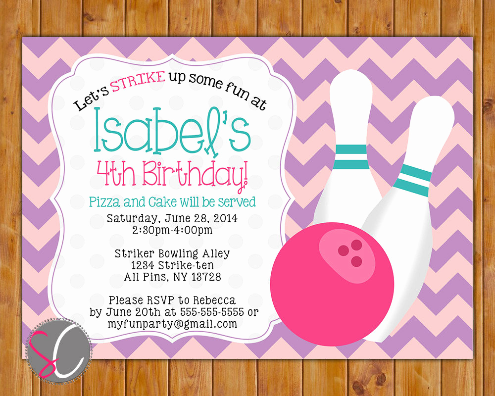 Bowling Birthday Party Invitation Lovely Bowling Party Birthday Invitation Girls Girly Bowling