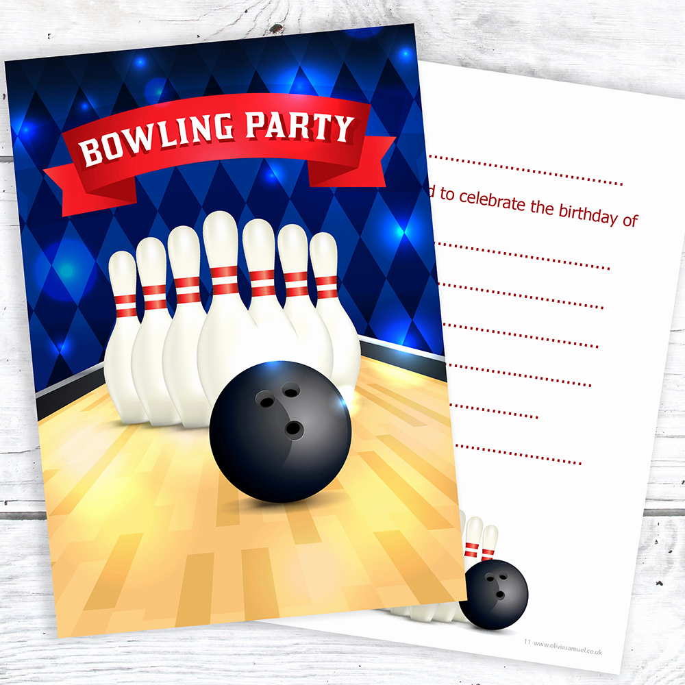 Bowling Birthday Party Invitation Lovely Bowling Party Birthday Party Invitations Ten Pin A6