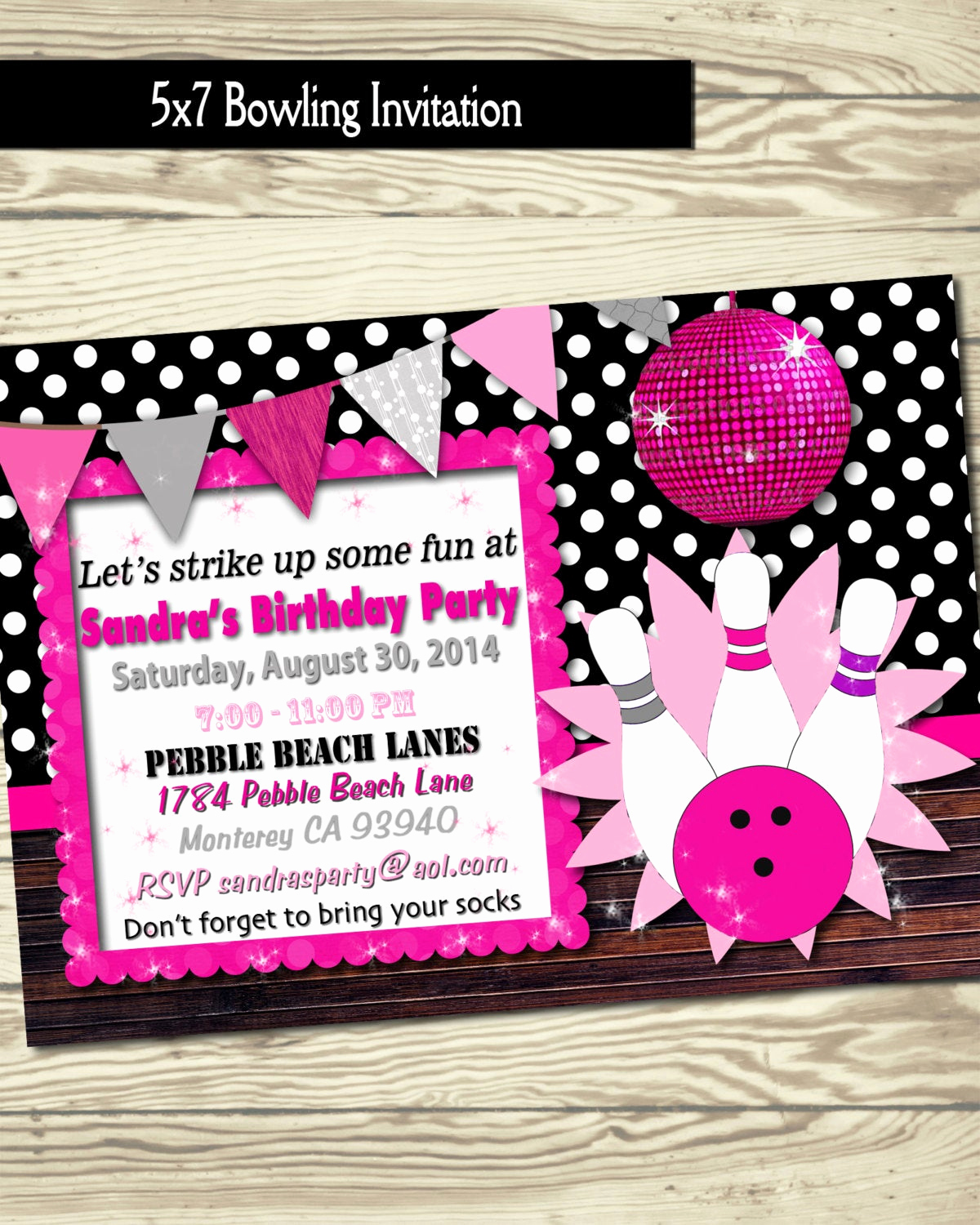 Bowling Birthday Party Invitation Luxury Bowling Invitation Birthday Party Bowling Party Girl