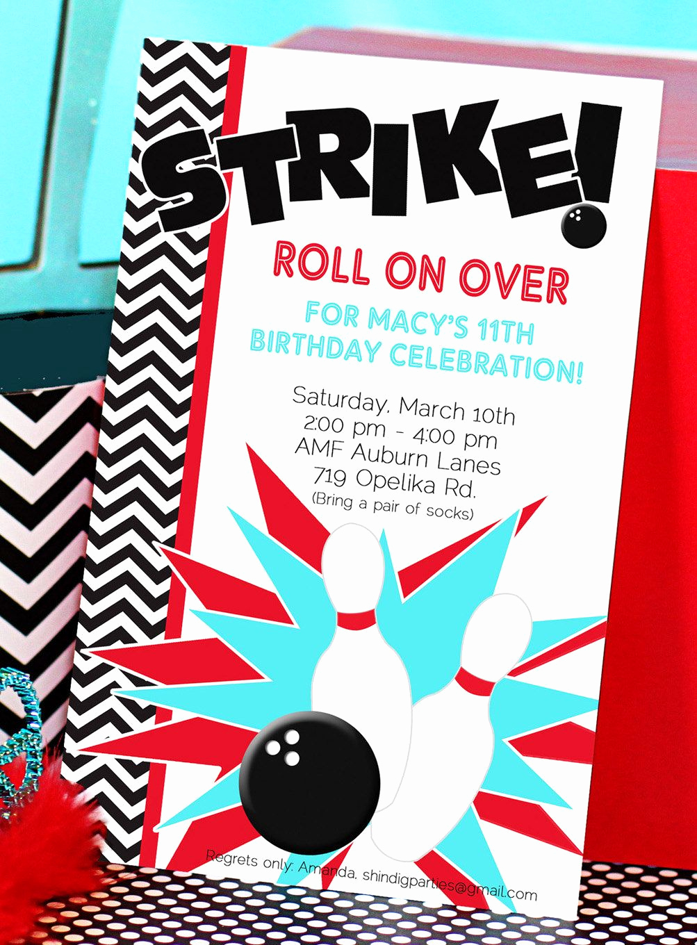 Bowling Birthday Party Invitation New Bowling Party Invitation