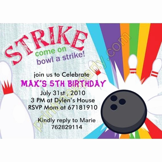 Bowling Birthday Party Invitation New Lucky Strike Bowling Birthday Party Invitation by