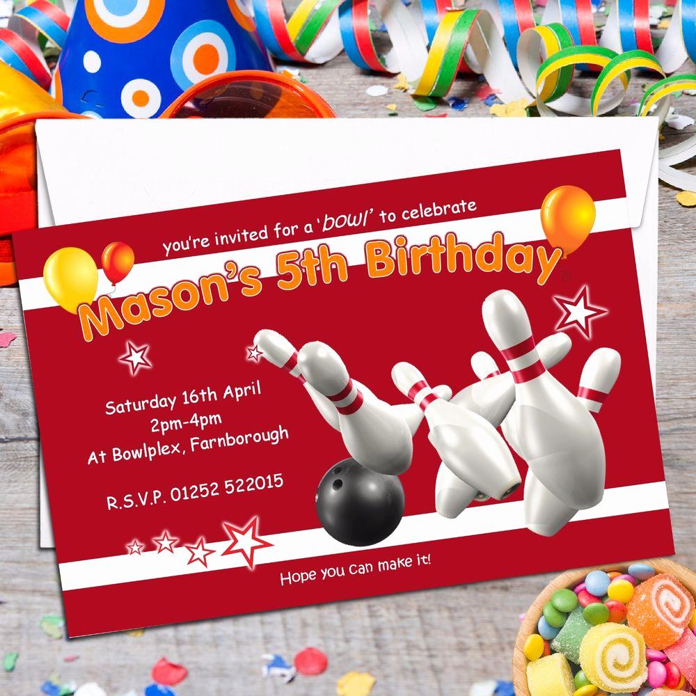 Bowling Birthday Party Invitation Unique 10 Personalised Ten Pin Bowling Birthday Party Invitations