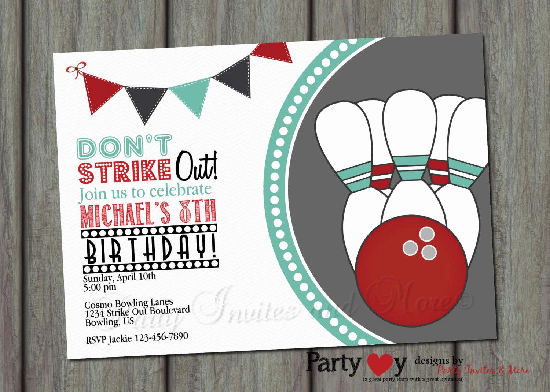 Bowling Birthday Party Invitation Unique Bowling Birthday Invitation Bowling Di Partyinvitesandmore