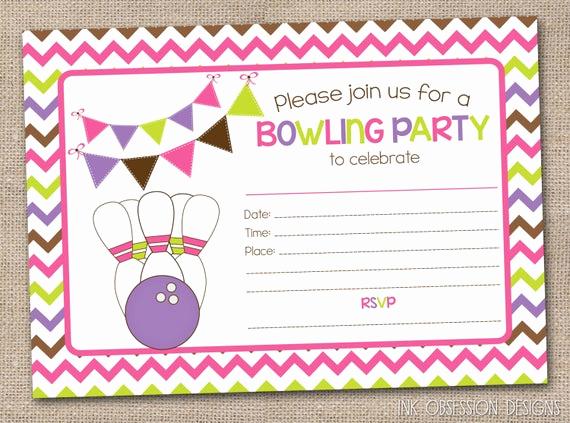 Bowling Birthday Party Invitation Unique Printable Girls Bowling Party Invitation by