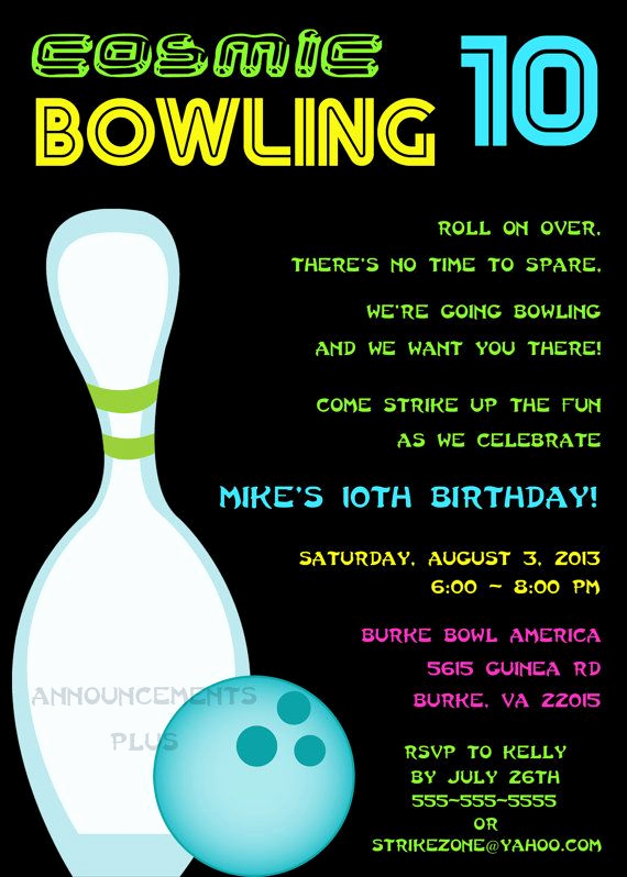 Bowling Birthday Party Invitation Wording Fresh 5x7 Cosmic Bowling Invitation by Announcementsplus $15 00