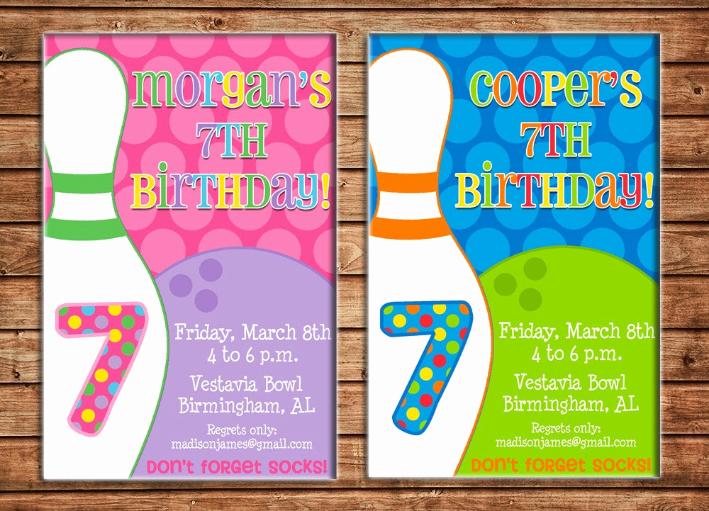 Bowling Birthday Party Invitation Wording Fresh Boy or Girl Invitation Bowling Birthday Party Can