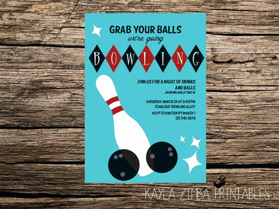 Bowling Birthday Party Invitation Wording Inspirational Adult Bowling Party Invitation Retro Party Invitation