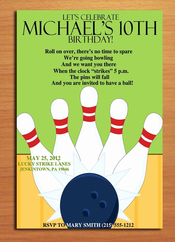 Bowling Birthday Party Invitation Wording Inspirational Bowling Alley Customized Printable Birthday Party Invitation